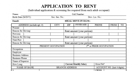 Standard Los Angeles Application To Rent