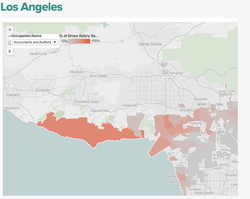 LA Map Salary vs Rent