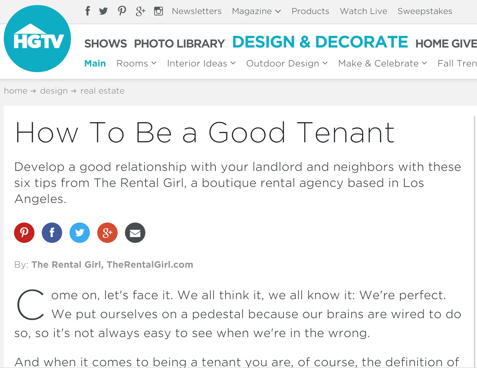 HGTV How to be a good tenant