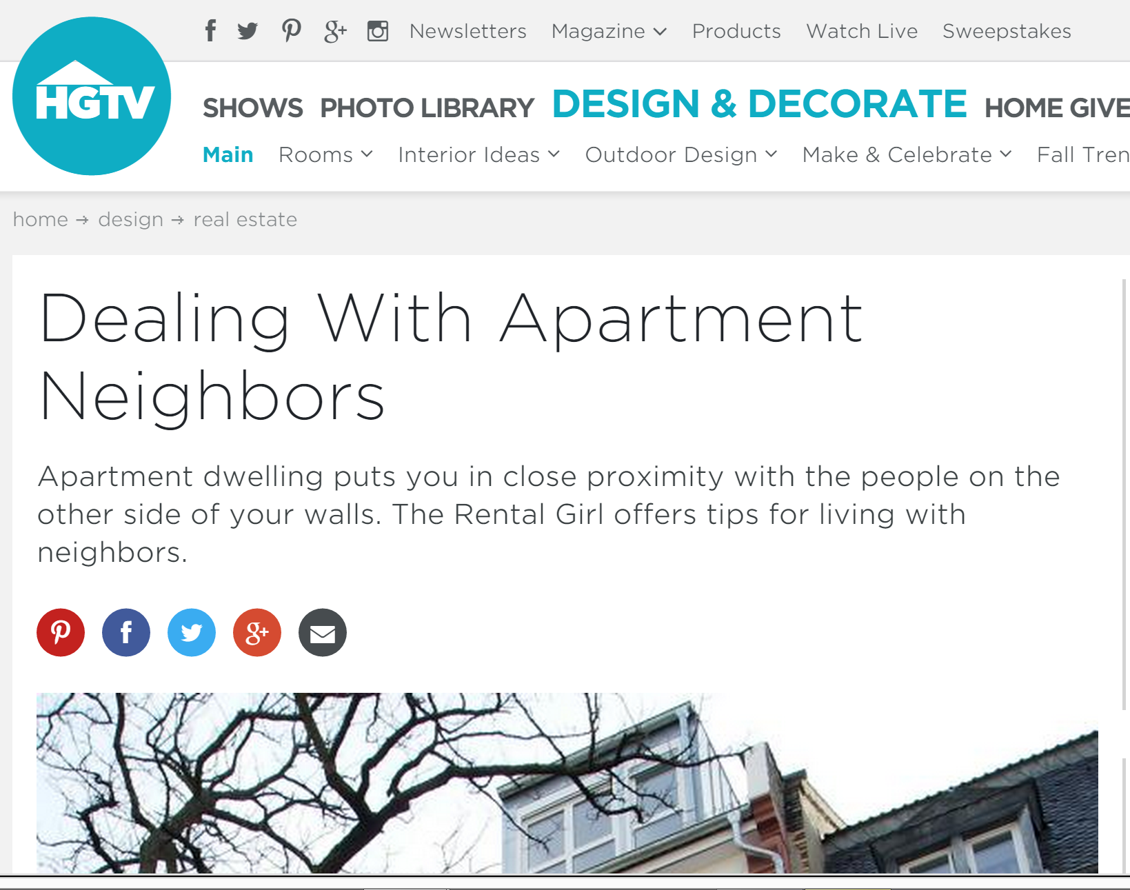 HGTV Dealing with Apartment Neighbors